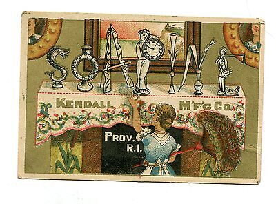 Victorian Trade Card SOAPINE Kendall Mfg Co Providence RI fireplace mantle
