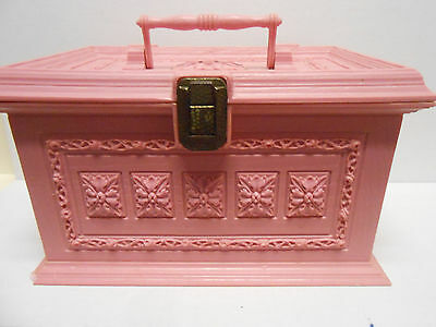 Vintage Max Klein Sewing Box Lift Out Tray Pink Wood Grain Sc-1280