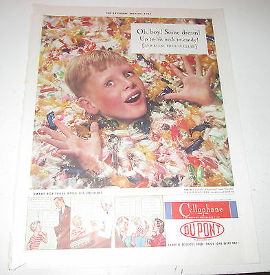1940 original ad Dupont Cellophane cute Boy Buried in Candies