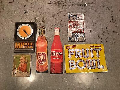 Vintage Advertising Sign Lot Collection - 6 items - Soda Feeds Farm Hires Pal