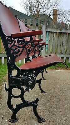 Victorian Original Cherry and Iron Folding Antique Theater Seats