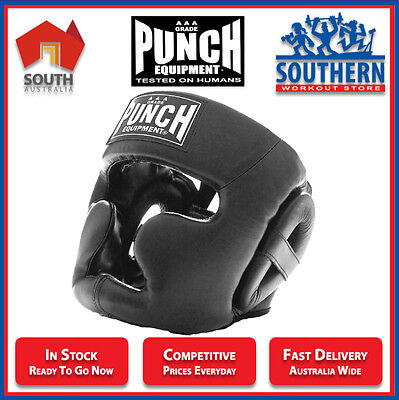 Punch Equipment Full Face Head Gear Leather Boxing Muay Thai Protection Sparring
