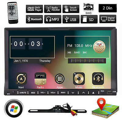 """GPS Navigation With Map IPod Bluetooth Radio Double Din 7"""" Car Stereo DVD Player"""