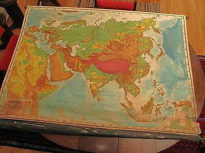 Vtg Antique Large Rand Mc Nally Wall Map Eurasia Pat Date 1900 Damage Rip Tears