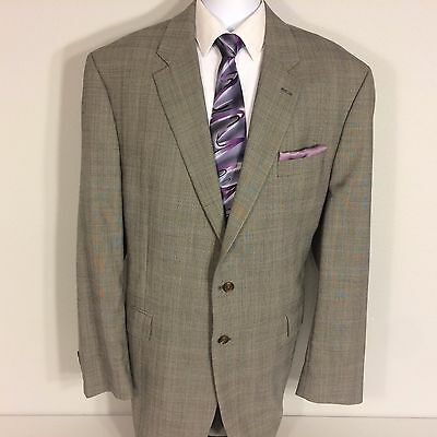 Ralph Lauren Gray Glen Plaid Windowpane 2 Piece Suit Men Size 48 L Pant 44/31