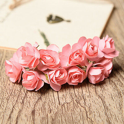 12 Paper Rose Flowers With Wire Stem For Card Making Wedding Decoration