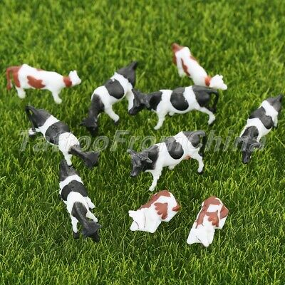10 x Plastic Colored Painted Model Cattle Cow Farm Animals Kid Toys Scale 1:87