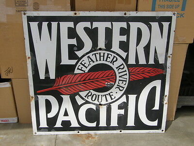 "Western Pacific Porcelain Feather River Route Railroad Sign Original 45.5""x40.5"""