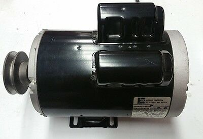"""5 HP 3450 RPM Motor COMPRESSOR DUTY 56 Frame 1 Phase 5/8 Shaft 3"""" pulley"""