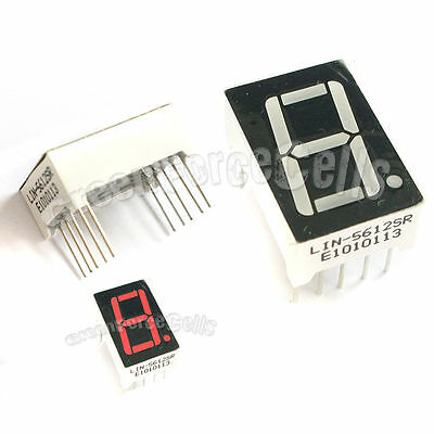 "2 pcs 0.56"" 7 Segment 1 Digit Super Red LED Display Common Anode 10 Pins"