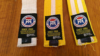 3 x GENUINE HallsTaekwondo Martial Arts Belts
