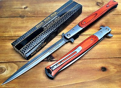 """13"""" TAC FORCE WOOD Spring Assisted Open EXTRA LARGE Stiletto Folding Pocket Kni"""