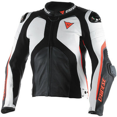Dainese Super Rider Leather Motorcycle Jacket - Black / White / Fluo Red