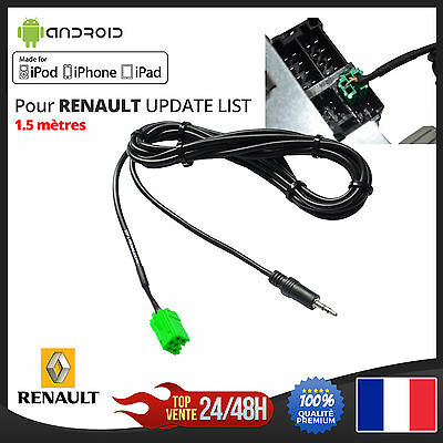 Câble MP3 iPhone 3.5mm iPad AUX Renault Update List 6 PIN ISO Megane Clio Scenic