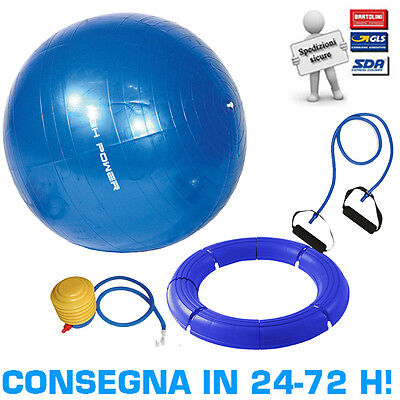 Kit Pilates High Power Palla Ginnica Gymball Fitball 75cm + Elastico + Base