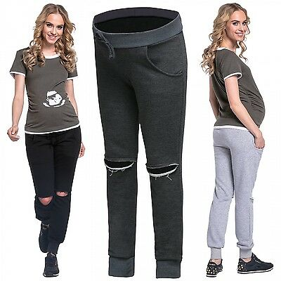 Happy Mama Women's Maternity Lounge Cuff Leg Jogger Sweatpants Busted Knee. 661p