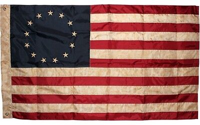 Vintage Betsy Ross Flag 3x5 ft 420D Nylon Tea-stained Antiqued Brass Grommets