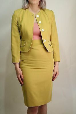 Genuine Vintage 80's Mustard 2 Piece Suit Pencil Skirt Jacket Size 8 Office