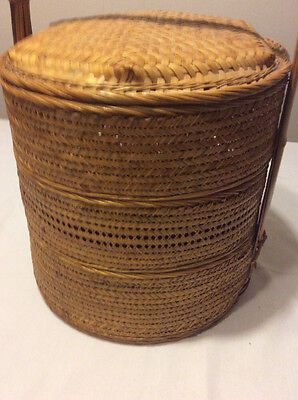 Vintage Chinese Wedding Basket 3 Tier Woven Bamboo Stacking Wicker