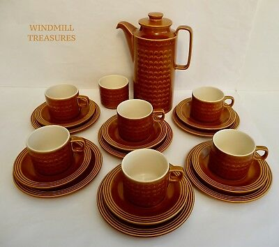 Vintage 20 Piece Hornsea Pottery 'Saffron' Coffee Set  -  Great Condition