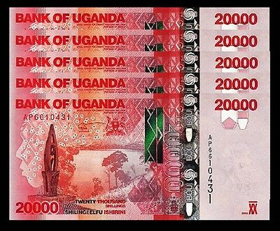 Uganda 20000 20,000 Shillings 2013 Unc 5 Pcs Consecutive Lot P.53