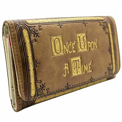 New Official Abc Once Upon A Time Gold Embossed Brown Id & Card Tri-Fold Purse