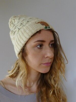 Vintage retro true 1990s cream wool cable knit beanie hat embroidered Yak UK