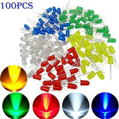 100pcs 3mm  LED Light Emitting Assortment Kit Diodes White Green Red Blue Yellow