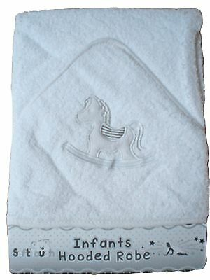 Baby boys girls infant white Soft Touch rocking horse cotton hooded towel robe