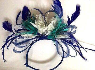 BESPOKE Royal Blue Cream Teal Fascinator on Headband UK Wedding Ascot Races Loop