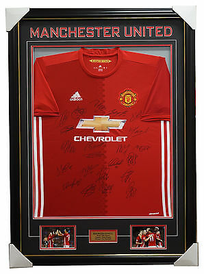 Manchester United Signed 2016/17 Team Jersey Framed Pogba Rooney Ibrahimovic