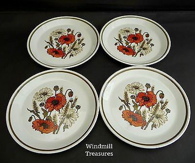 Set Of 4 Vintage J & G Meakin Studio 'Poppy' Tea Plates - Fab Condition