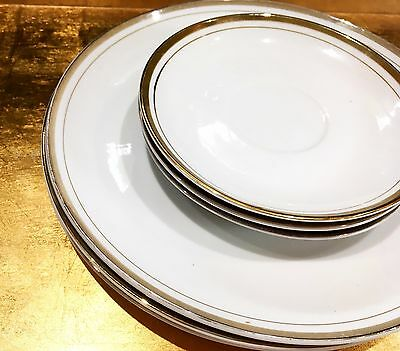 Royal China Co. Porcelain Plates with Gold Edge (3 bread, 3 dinner)