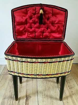 Superb Vintage Mid Century 1950's Wicker & Fabric Sewing / Box