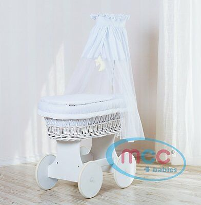 MCC Full Deluxe Wheeled White Wicker Crib Set/Moses Basket with Dressing