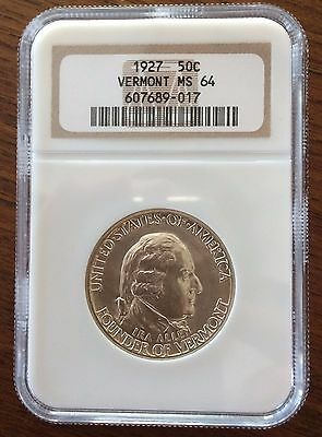 1927 Vermont Sesquicentennial Commemorative half dollar. NGC MS 64, high luster