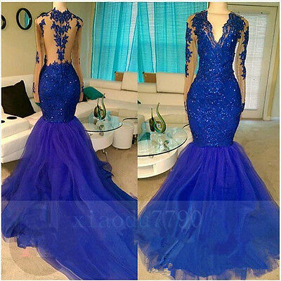 Long Royal Blue Mermaid Bridesmaid Evening Cocktail Formal Party Prom Gown Dress
