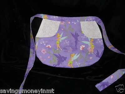 Childs Tinkerbell print  waist tie apron reversible new apron print fabric