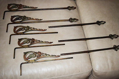 Antique ART DECO Floral Flower Cast Iron Metal Swing Arm Curtain Drape Rods
