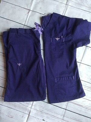 Women's Med Couture EZ Flex Purple Scrub Set XS Top Small Pants