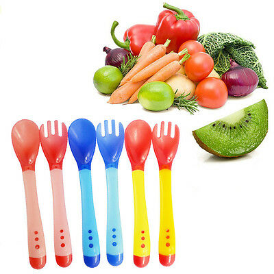2pcs/set Utensils Set Feeding Spoon Fork Baby Flatware Temperature Sensing