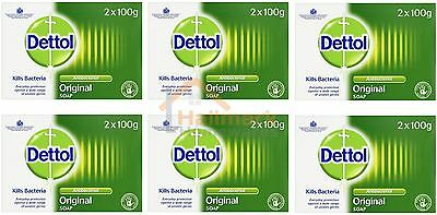 6 x Dettol Anti Bacterial Original Soap 2 x 100g Bars - Twin Pack - (12 BARS)
