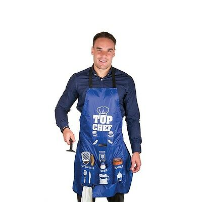 Man Apron Top Chef Space And Pockets For Kitchen Essentials Blue