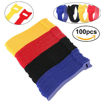 100pcs Reusable Nylon Strap Hook and Loop Cable Cord Ties Tidy Organiser