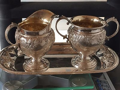 Wallace Grand Baroque Sterling Silver Creamer & Sugar Set #4851-9 & Under plate