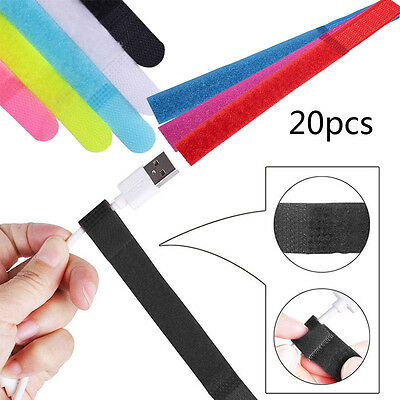 20pcs Reusable Nylon Strap Hook and Loop Cable Cord Ties Tidy Organiser