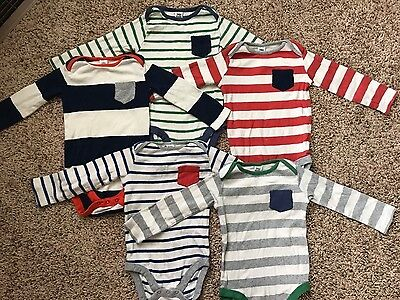 Baby Boden ~ Boys Striped Long Sleeve Top ~ Set of 5 ~ 12-18 Months