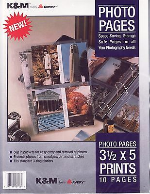 13 lot Photo Pages K&M by Avery 10 per pack 4 photos per page holds 520 photos