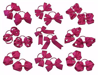 Deep cerise pink grosgrain ribbon hair bows on thin bobbles, toddler hair clips