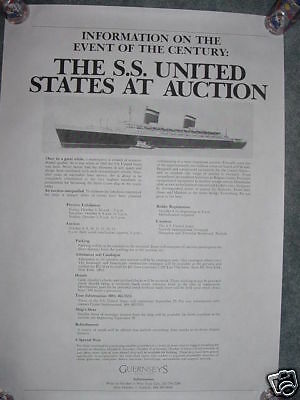 SS UNITED STATES LINES 1984 Guernsey's Auction Poster    /     Unused